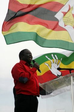 Zimbabwe's Prime Minister gives a speech during his party's rally held at White City stadium in Bulawayo