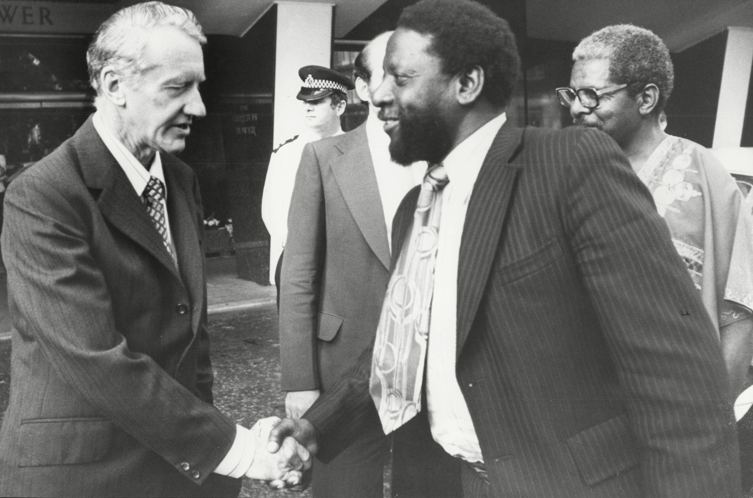 Rhodesian premier Ian Smith (left) meets guerilla leader Joshua Nkomo in 1979. (Rex)