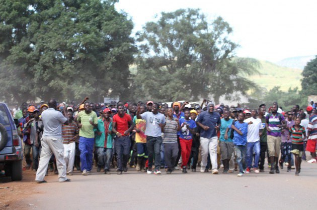 Youths toyi toying in the streets of Bindura. Picture by Wilson Kakurira