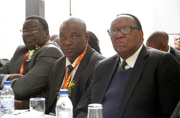 Minister in Vice President Mnangagwa's Office Mr Clifford Sibanda (centre) flanked by Minister of Agriculture, Mechanisation and Irrigation Development Dr Joseph Made (right) and Zimbabwe Agricultural Society Chairman Mr Ngoni Kudenga follows proceedings during the national Agribusiness conference at the Harare Agricultural Show yesterday. — (Picture by John Manzongo)