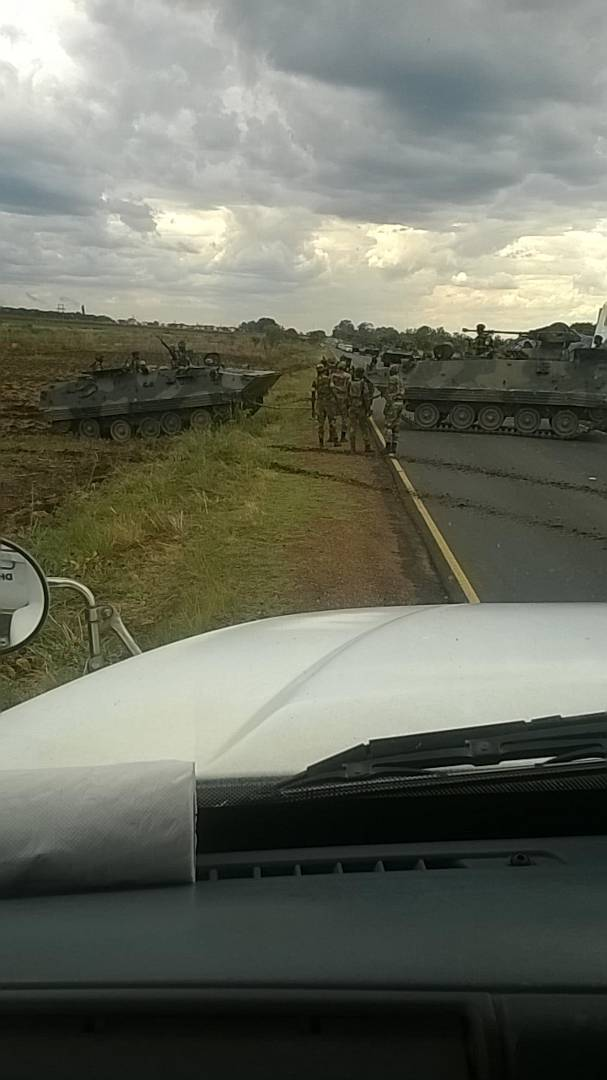 The Harare – Chinhoyi road has been blocked by army tanks the near the Inkomo barracks turn-off