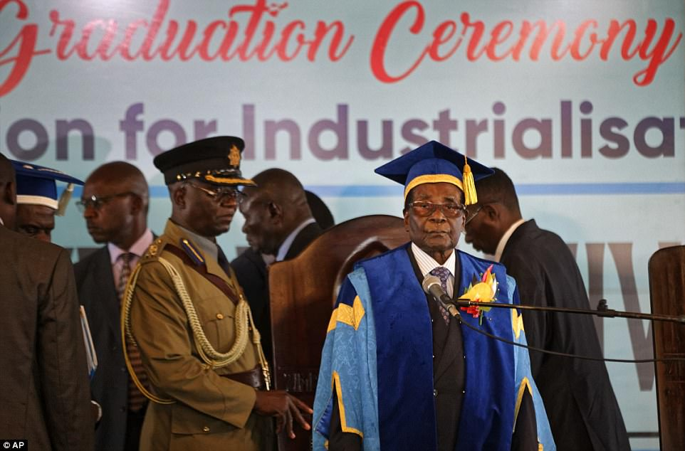 Robert Mugabe at the student graduation ceremony at Zimbabwe Open University on the outskirts of Harare, his last public appearance