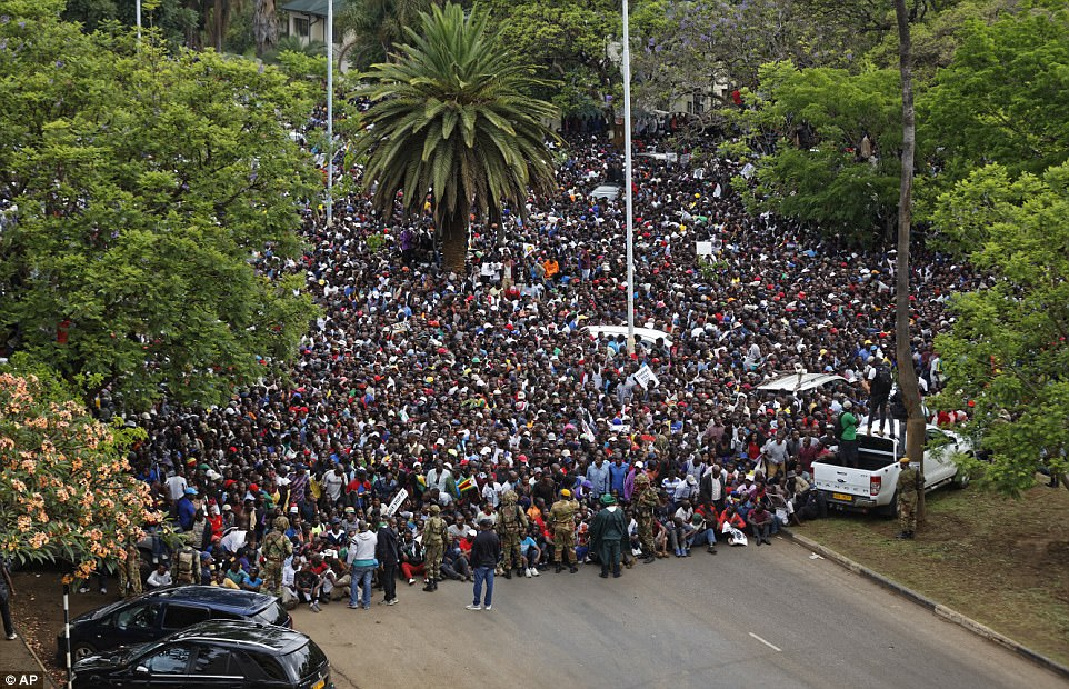 In a euphoric gathering that just days ago would have drawn a police crackdown, crowds marched through Zimbabwe's capital on Saturday to demand the departure of President Robert Mugabe, one of Africa's last remaining liberation leaders, after nearly four decades in power