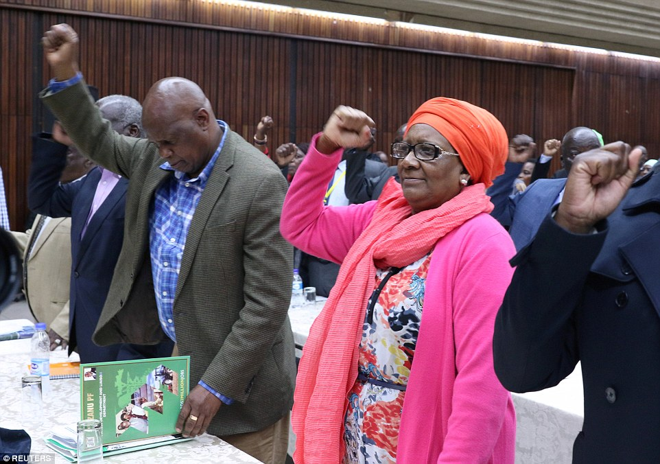 Delegates raise their fists as they replace Mugabe withEmmerson 'Crocodile' Mnangagwa as leader of the Zanu-PF ruling party