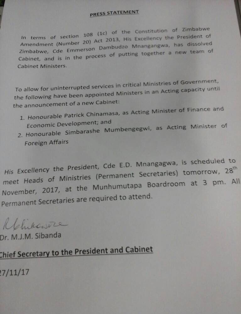 Mnangagwa appoints Chinamasa, Mumbengegwi as acting Ministers