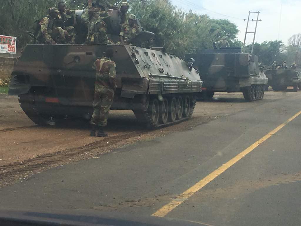 Zimbabwe: Army tanks seen heading towards capital Harare amid rising tensions between Robert Mugabe's Zanu PF and military