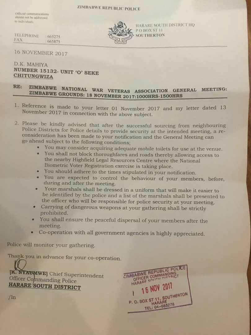 Police Approve Mutsvangwa's Rally To Remove Mugabe