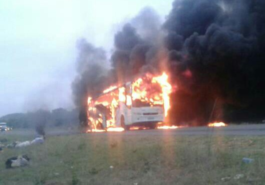 Zimbabwe: City Liner bus goes up in flames, all goods on board burnt