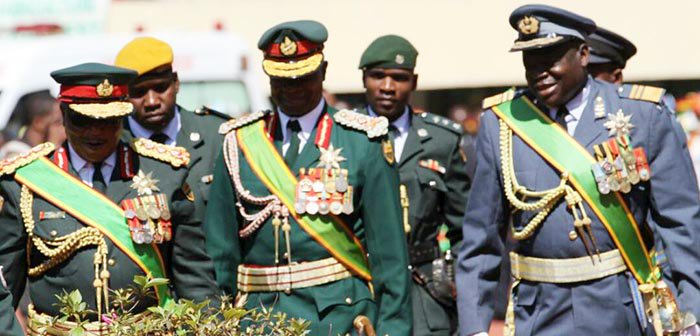 Commander of the Defence Forces, General Constantino Guvheya Nyikadzino Chiwenga (l), National Army Commander Lieutenant-General Philip Valerio Sibanda and Air Force of Zimbabwe Commander Air Marshal Perrence Shiri arrive for the celebrations of the ZDF at the National Sports Stadium Tuesday afternoon.