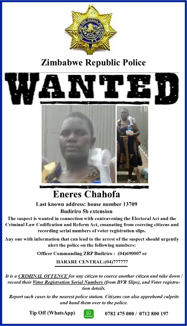 WANTED Poster going viral on social media - Zimbabwe Situation