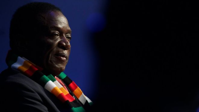 Emmerson Mnangagwa, President of Zimbabwe, attends the 48th annual meeting of the World Economic Forum, WEF, in Davos, Switzerland, 24 January 201