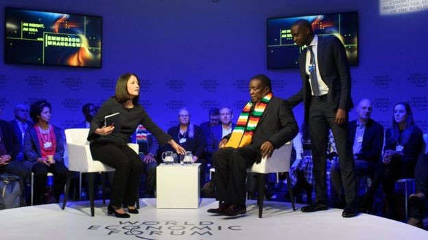 Emmerson Mnangagwa, President of Zimbabwe, attends the 48th annual meeting of the World Economic Forum, WEF, in Davos, Switzerland, 24 January 2018