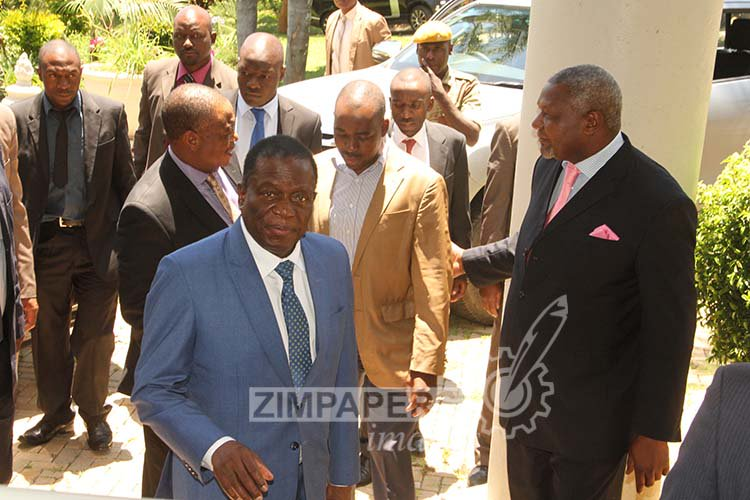 President Emmerson Mnangagwa and Vice President General Constantino Chiwenga (Rtd) are welcomed by MDC-T vice president Nelson Chamisa and MDC-T MP Murisi Zwizwai as they visit MDC-T leader Morgan Tsvangirai at his home in Highlands, Harare.-(Picture by Tawanda Mudimu)