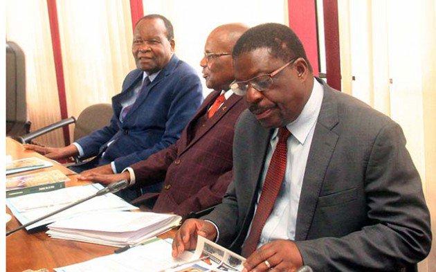 Politburo members Cde's Mike Bimha,Christopher Mushohwe and Josiah Hungwe.-Picture by Munyaradzi Chamalimba