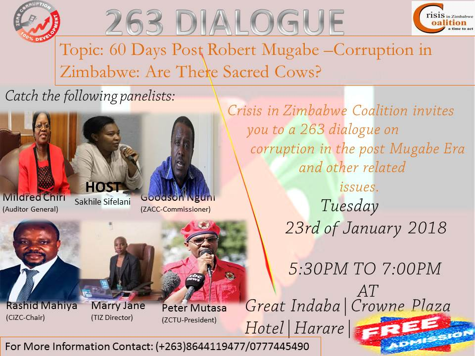 Invitation to a Public Meeting on Corruption in the Post Mugabe Era