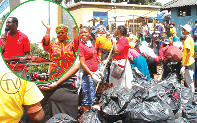 Minister Muchinguri-Kashiri thanks PHD Ministries congregants for cleaning up Harare (inset). In black plastic bags is some of the litter that was picked up