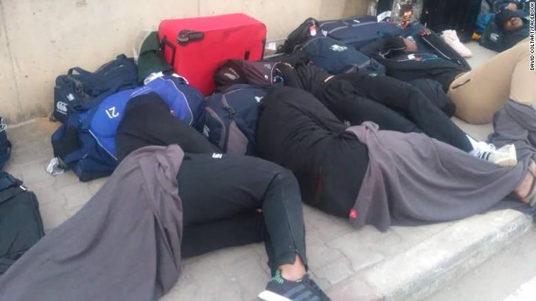 The players slept on the street to protest their poor hotel accommodation