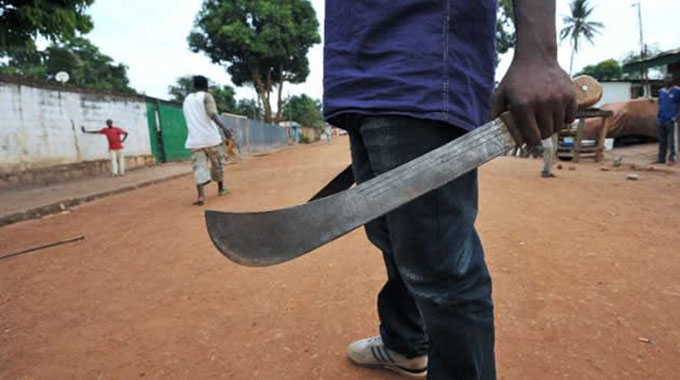 Guards injured in machete attack