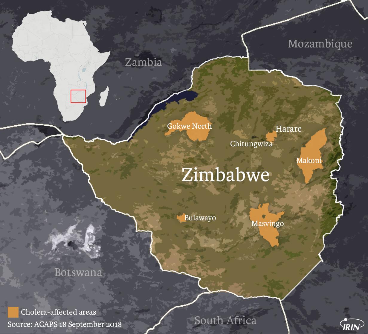 Map of cholera outbreaks in Zimbabwe September 2018.