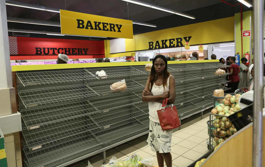 zimbabwe empty bread shelves