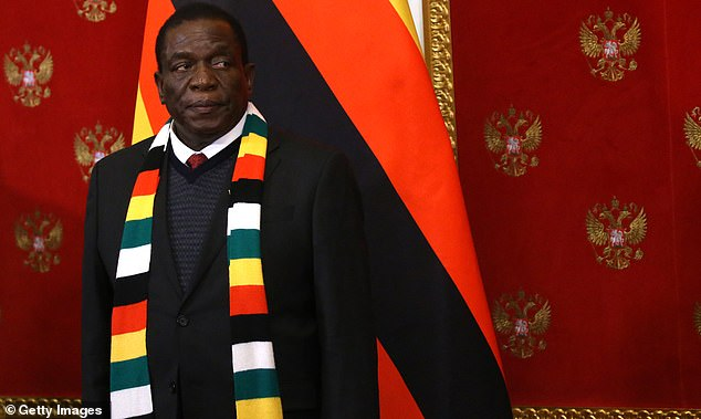 President of Zimbabwe Emmerson Mnangagwa seen during a visit to Moscow last week before he was forced to call off his five-nation visit to Europe to spare his blushes as condemnation rang out across the globe