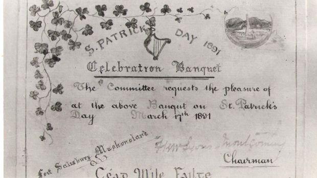 St Patrick's Day 1891 invite.