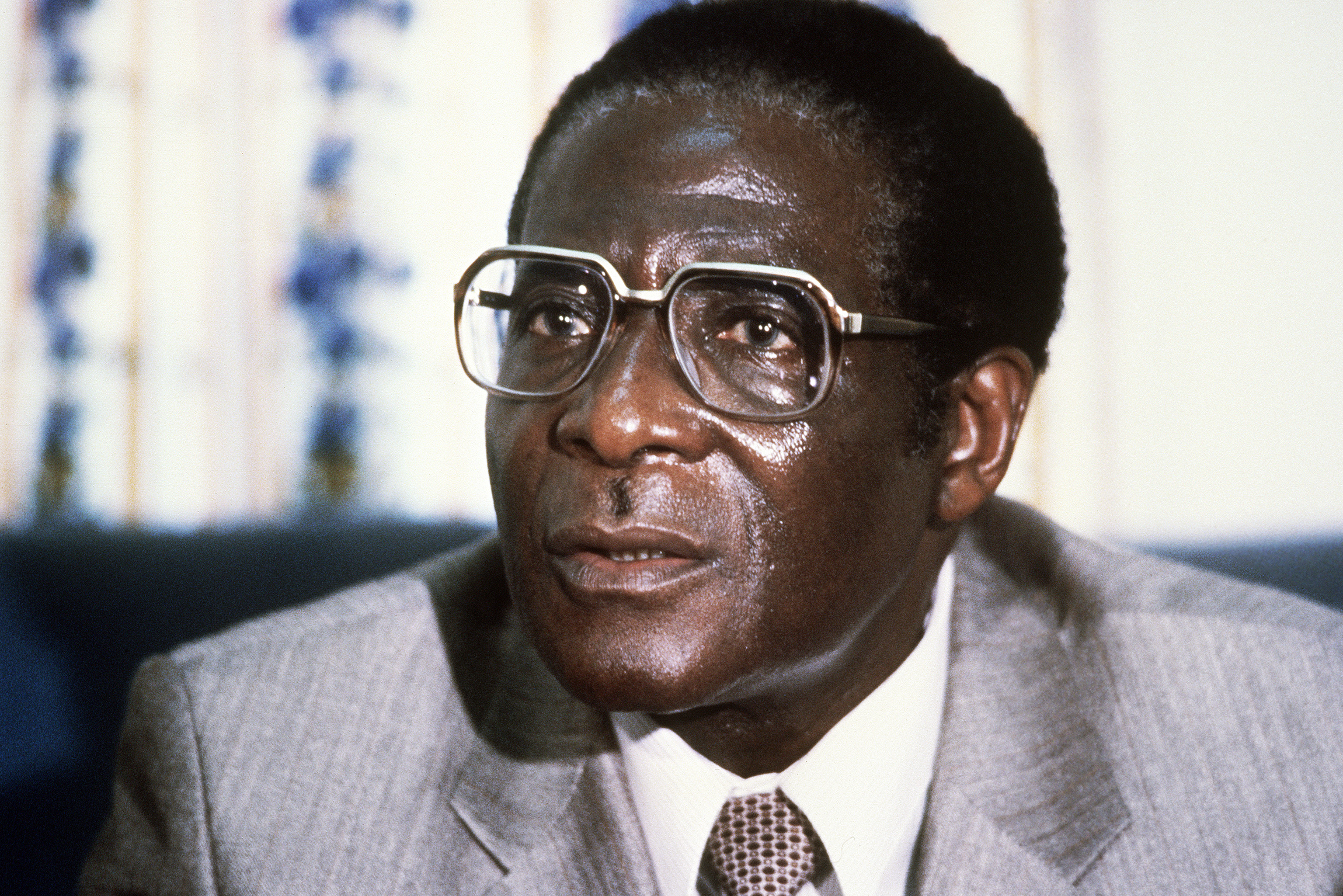 Zimbabwe's Prime Minister Robert Mugabe. Mugabe, Zimbabwean first Premier (in 1980) and President (in 1987), was born in Kutama in 1924 (formerly Southern Rhodesia).