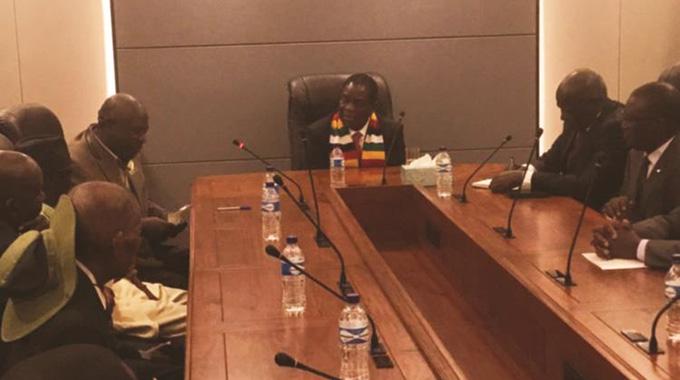 President meets chiefs, Mugabe family