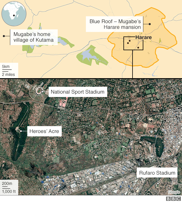 Map of Mugabe funeral locations