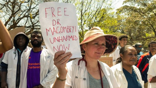 Zimbabwe junior doctors stage a protest march on Sunday