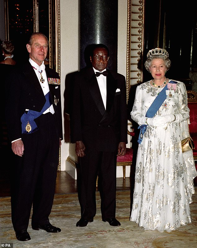 Mugabe with Queen Elizabeth II and Prince Philip before a state banquet at Buckingham Palace in May 1994