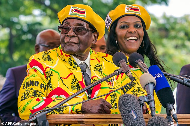 Robert Mugabe addresses party members and supporters gathered at his party headquarters to show support to Grace becoming the party's next Vice President in November 2017
