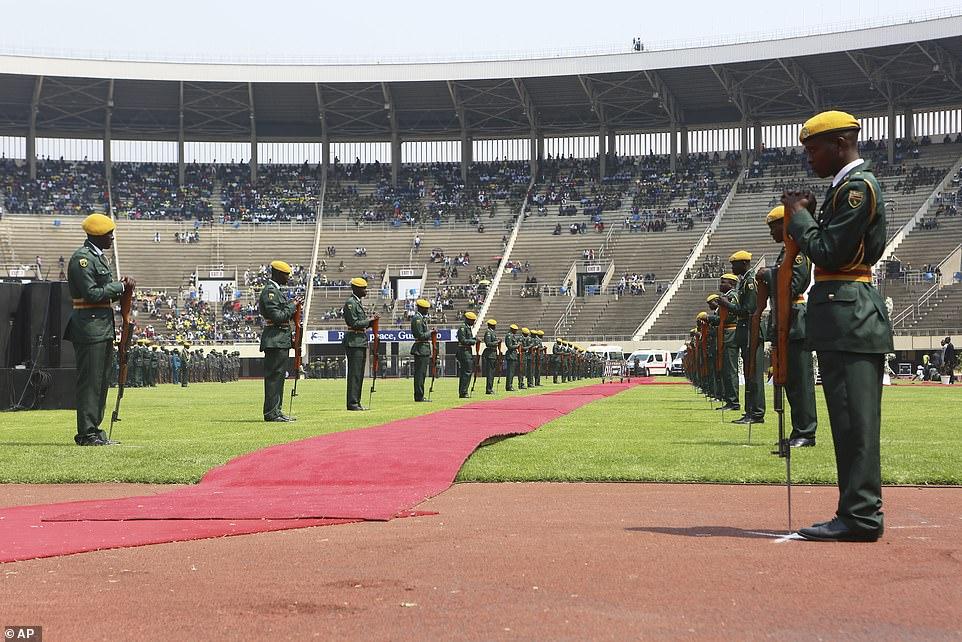 Row upon row of the 60,000-capacity National Sports Stadium in the capital Harare lay empty