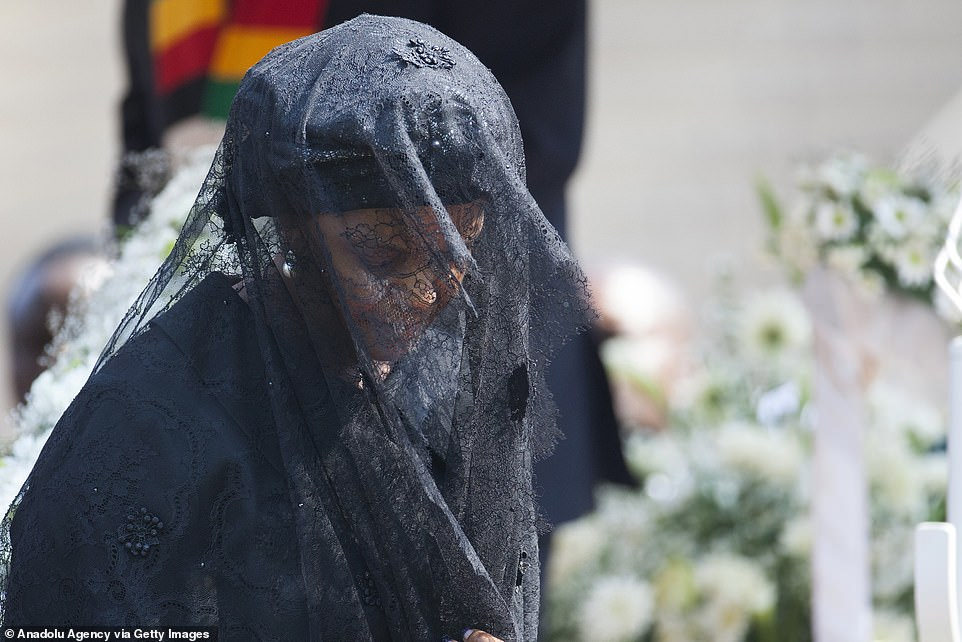 Grace Mugabe, wife of Zimbabwe's late former president, Robert Mugabe, is seen during the funeral ceremony at the National Sport Stadium