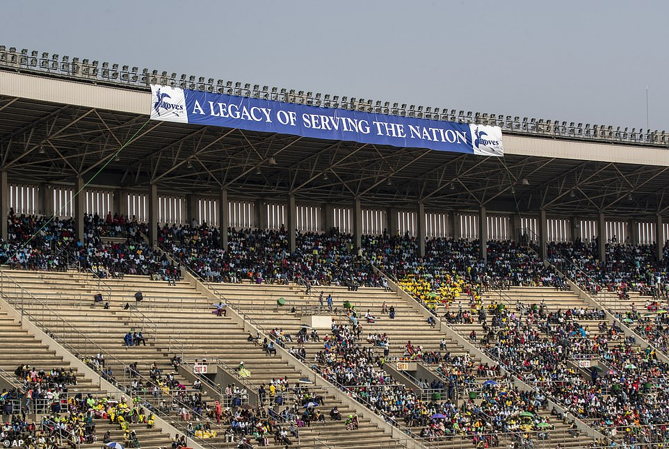 Members of the public were invited to sit in the stands during the ceremony, but many spaces were not taken