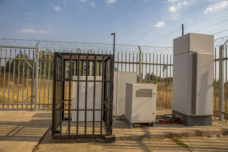 A Tesla Powerwall battery at an Econet site in Harare.