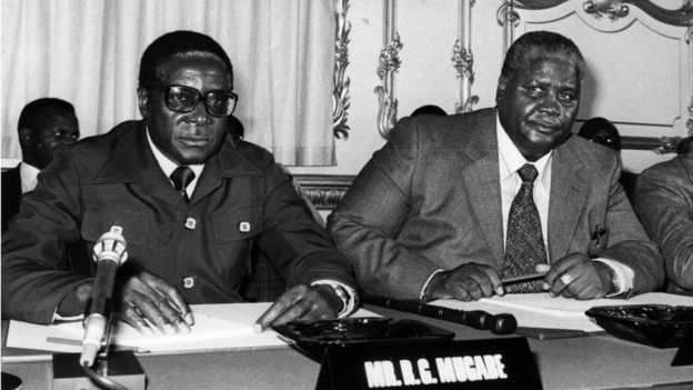 The Constitutional Conference on the future of Zimbabwe-Rhodesia, attended by Robert Mugabe (L) and Joshua Nkomo (R). 10th September 1979: The Constitutional Conference on the future of Zimbabwe-Rhodesia, attended by Leaders of the Patriotic Front Robert Mugabe (left) and Joshua Nkomo at Lancaster House, London.