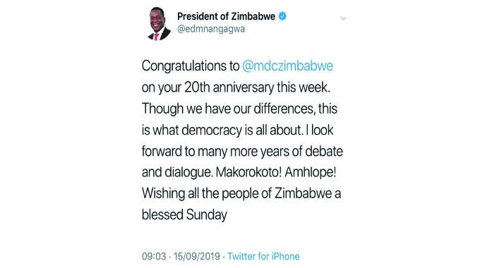 President congratulates MDC-Alliance
