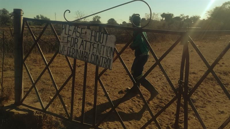 The gate at the former tobacco farmer, Shandu Gumede's farm in Nyamandlovu, Umguza District, in Matabeleland North Province, Zimbabwe that she is now reportedly leasing to a cattle farmer. [Daylife]