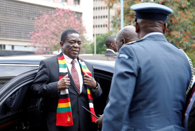 FILE PHOTO: Zimbabwe President Emmerson Mnangagwa arrives for the presentation of the 2020 National Budget at Parliament Building in Harare,