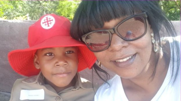 Tendayi Gwata with her five-year-old son