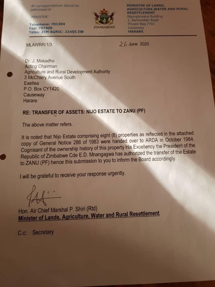 arda naji estate transferred to zanu pf