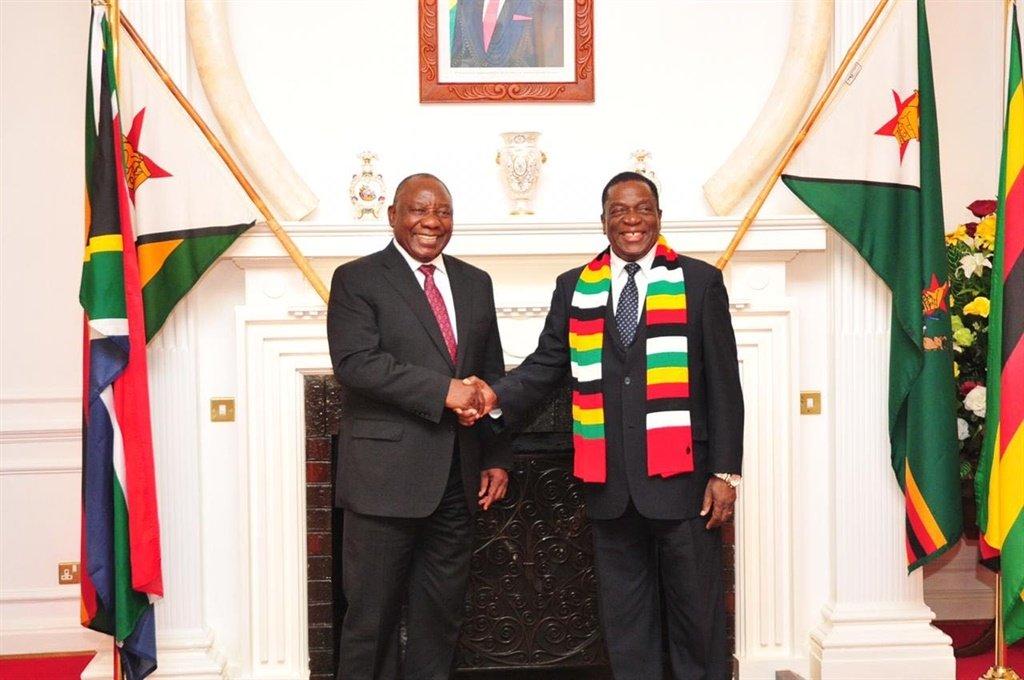 President Cyril Ramaphosa and Emmerson Mnangagwa of Zimbabwe. Picture: File
