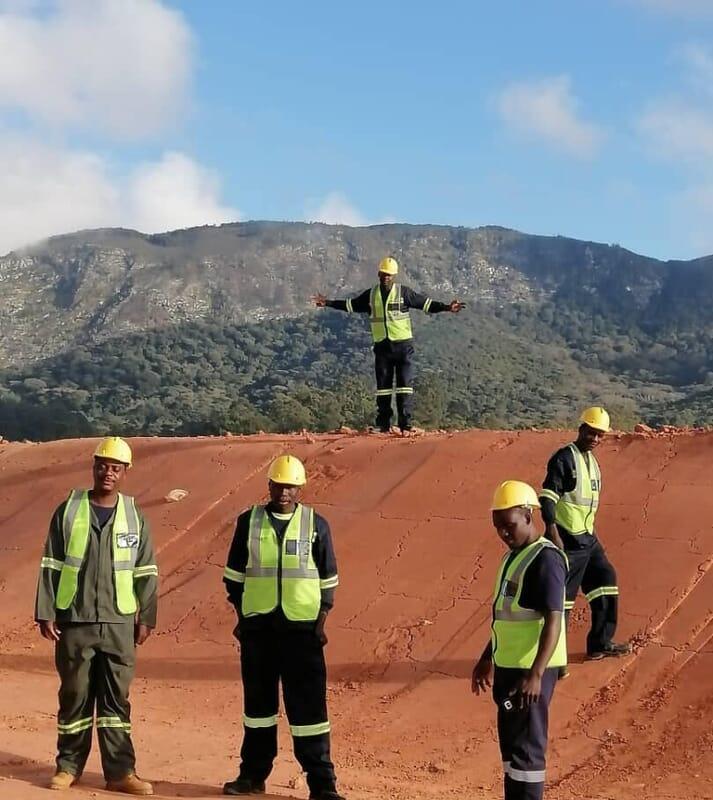 A 65m x 52m pond under construction in Vumba, Eastern Highlands, Zimbabwe