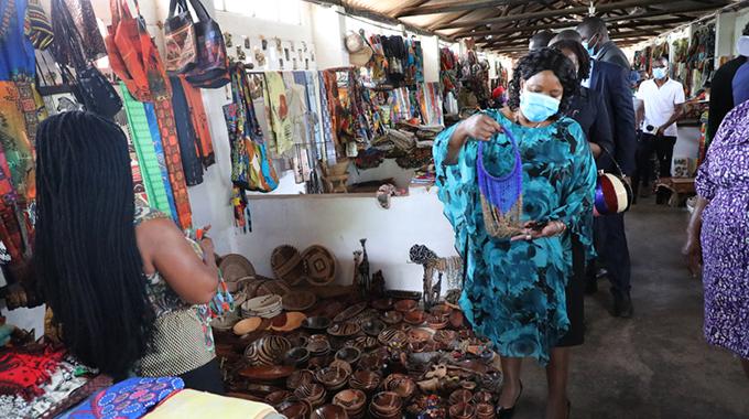 First Lady brings joy to Vic Falls craft traders