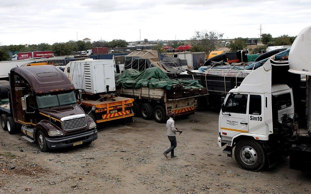 Trucks parked at Beit Bridge border post.