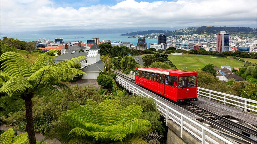 A cable car in Wellington, NZ