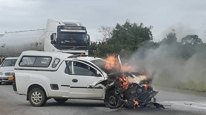 JUST IN: Three escape after car burnt to a shell