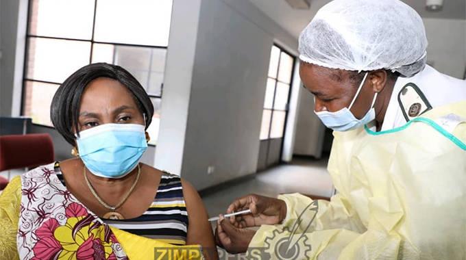 JUST IN: Minister Mutsvangwa vaccinated
