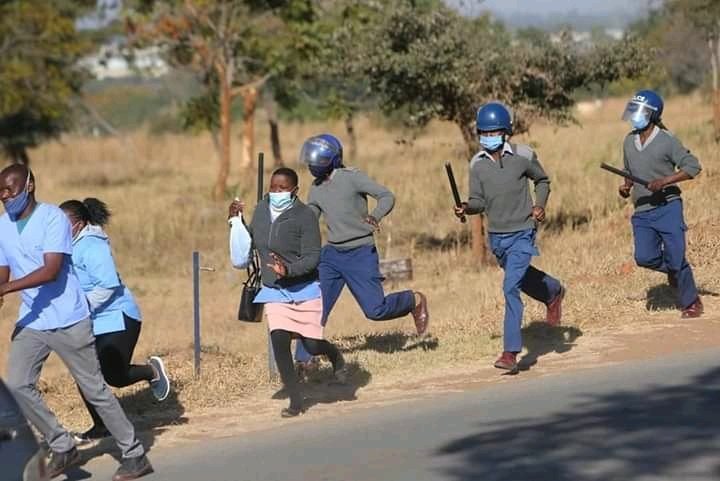 Nurses Flee From Baton-wielding police PROTESTS Harassment victimisation